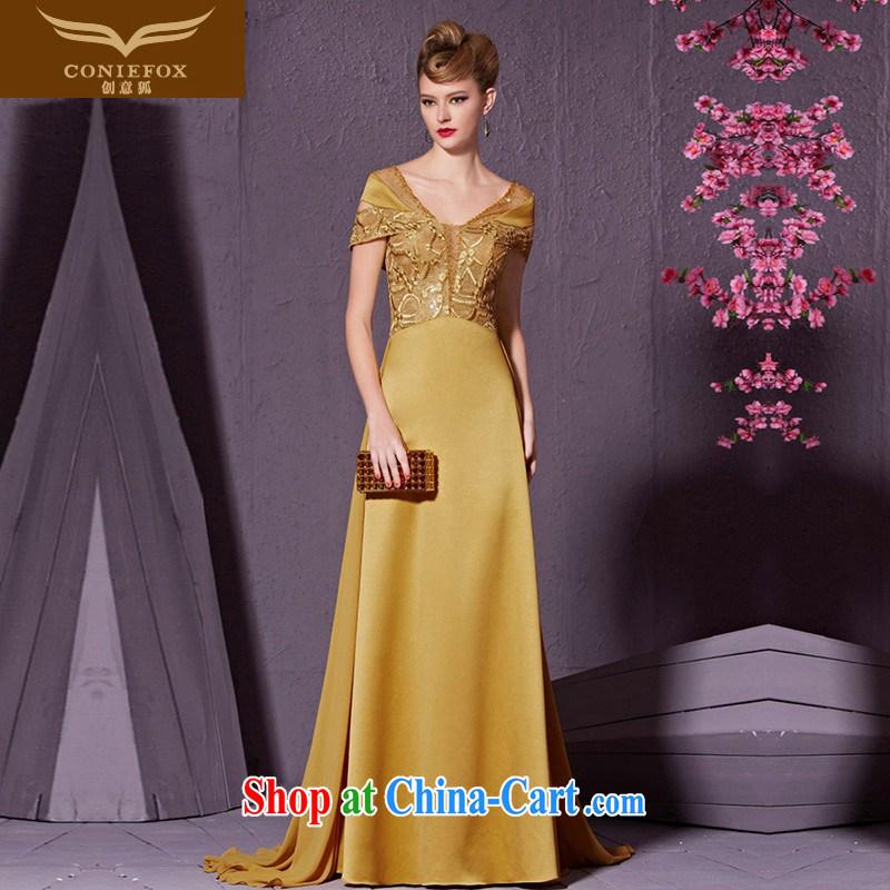 Creative Fox Evening Dress long stylish package shoulder banquet evening dress toast serving the annual dress tail performance service bridal wedding dress 30,923 yellow XXL