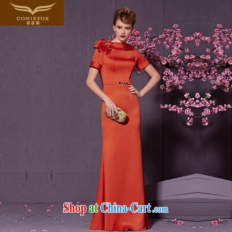 Creative Fox stylish and elegant long banquet dress bride wedding toast serving graphics thin-waist bridesmaid dress the dress uniforms of 30,925 red XXL