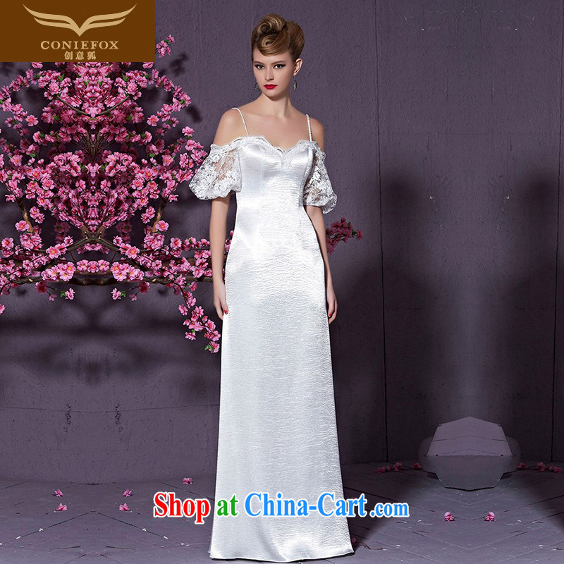 Creative Fox white strap with bare chest wedding dresses bridal wedding dress beauty long fall dress evening dress uniform toast the dress skirt 30,928 white XXL