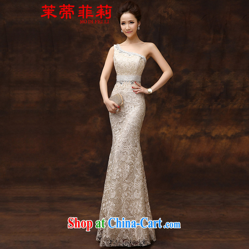 Energy Mr. Philip Li lace Evening Dress 2015 new single shoulder-length, bridal wedding toast beauty service at Merlion dress summer champagne color tailored