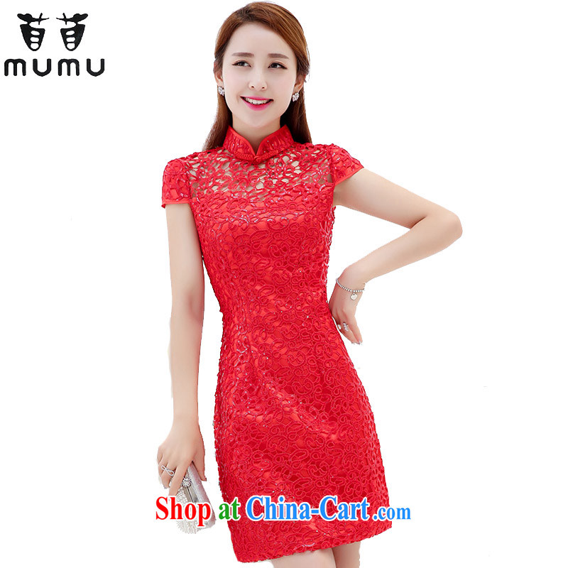 Summer dresses, short-sleeved toast serving language wearing a red beauty graphics thin dresses, wedding dress female Red 3 XL