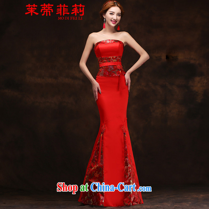 Energy Mr. Philip Li toasting service 2015 spring and summer new ethnic wind cultivating crowsfoot long red bridal wedding dress dresses red M
