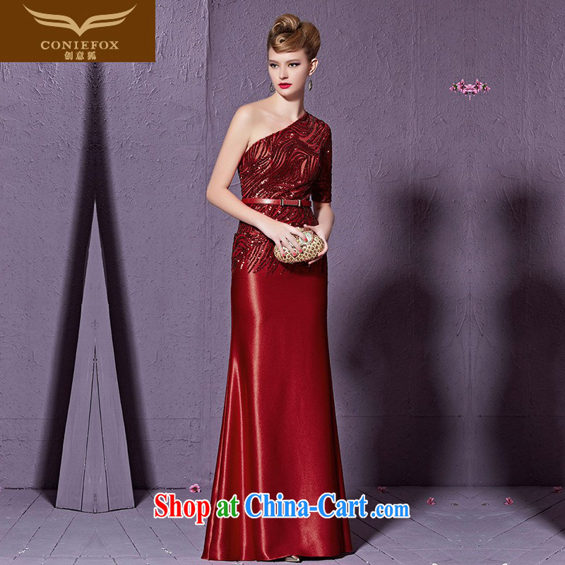 Creative Fox stylish single shoulder dress beauty long red bridal wedding evening dress uniform toast wedding hospitality service banquet video thin dress skirt 30,931 red XXL