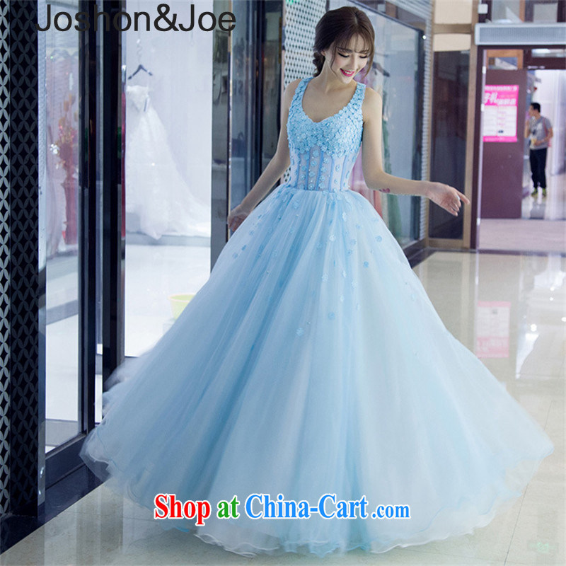 joshon &Joe new stylish dress bridesmaid serving fine lace flowers back exposed dress Banquet hosted Princess dresses picture color L