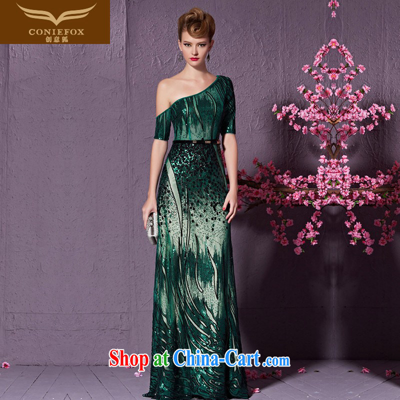 Creative Fox elegant long single shoulder evening dress and stylish, the dress show service banquet evening dress uniform toast party dress long skirt 30,933 green XXL