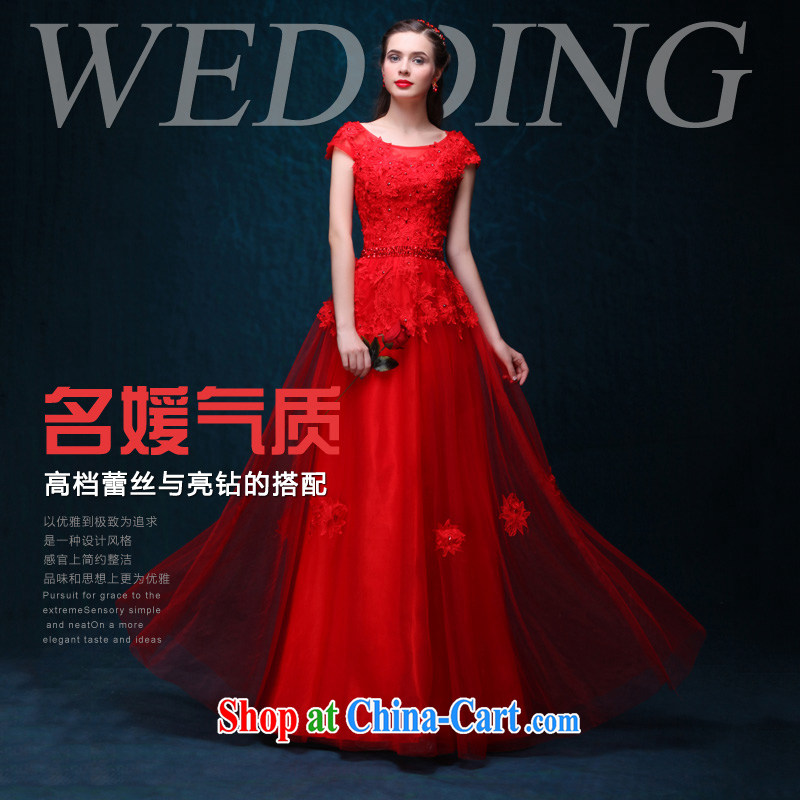 Bridal 2015 spring and summer New Long bows, serving evening dress a Field shoulder lace bows serving red long marriage to the door dress show banquet dress red made 7 Day Shipping does not return does not switch