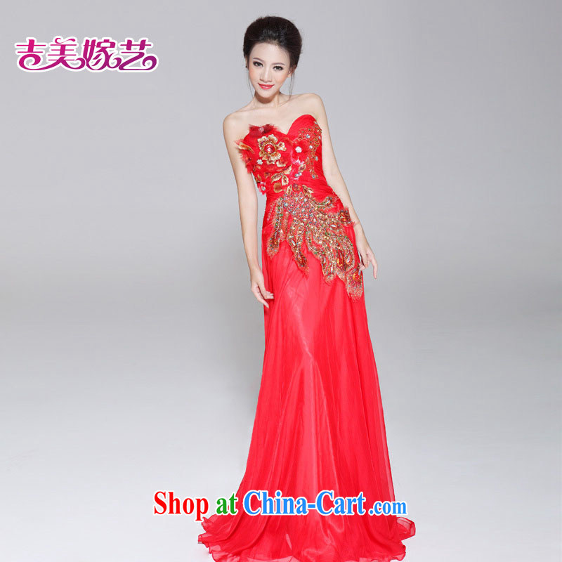 wedding dresses Jimmy married arts new Korean Princess dress LT 659 erase chest graphics thin tail bridal dresses red 12 #