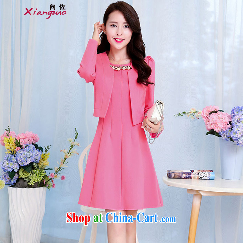 The Jordan 2015 ladies spring new Korean round-collar long-sleeved small jacket dresses dress Kit two-piece of red XXL
