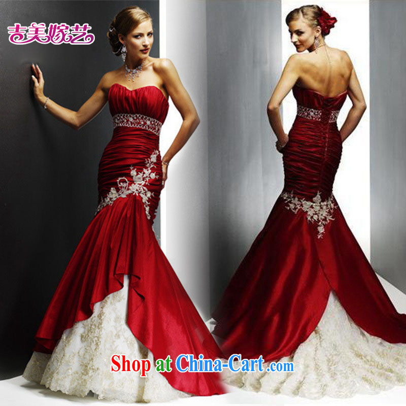 Korean English-style luxury bridal wine red crowsfoot dress * pieced * LT 041 bridal dresses wine red XL