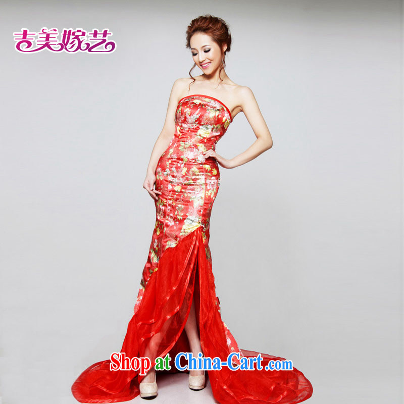 2015 new Jimmy married arts wedding dresses improved dress LT 632 bridal gown red XL