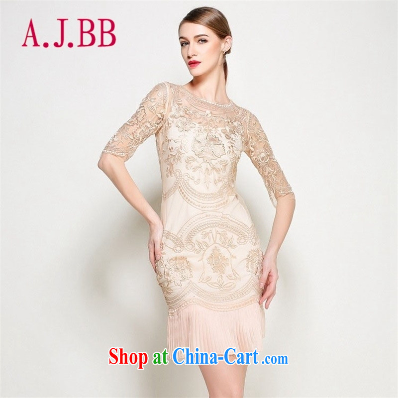 With vPro heartrendingly costumes and embroidery lace-silk dresses short-sleeved 100 hem dresses at Merlion dress 3096 apricot XXL