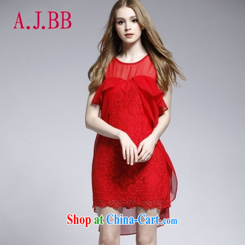 With vPro heartrendingly dress wedding dresses toast red short 2015 new lace water-soluble flower stitching White Dress 2166 red XL