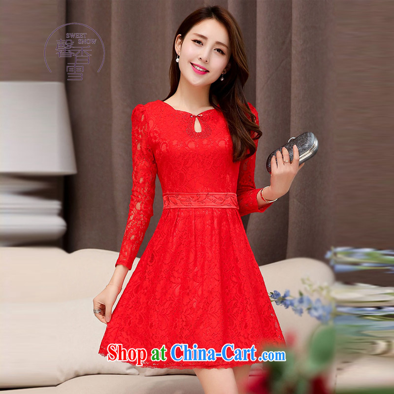 Autumn 2015 new Wristband Ms. Openwork lace beauty graphics thin dresses Chinese, for long-sleeved gown red