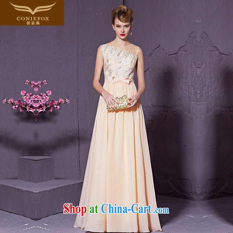 Creative Fox stylish bowtie beauty banquet dress elegant long chaired annual dress bridesmaid dress bridal wedding toast serving 30,959 apricot XXL