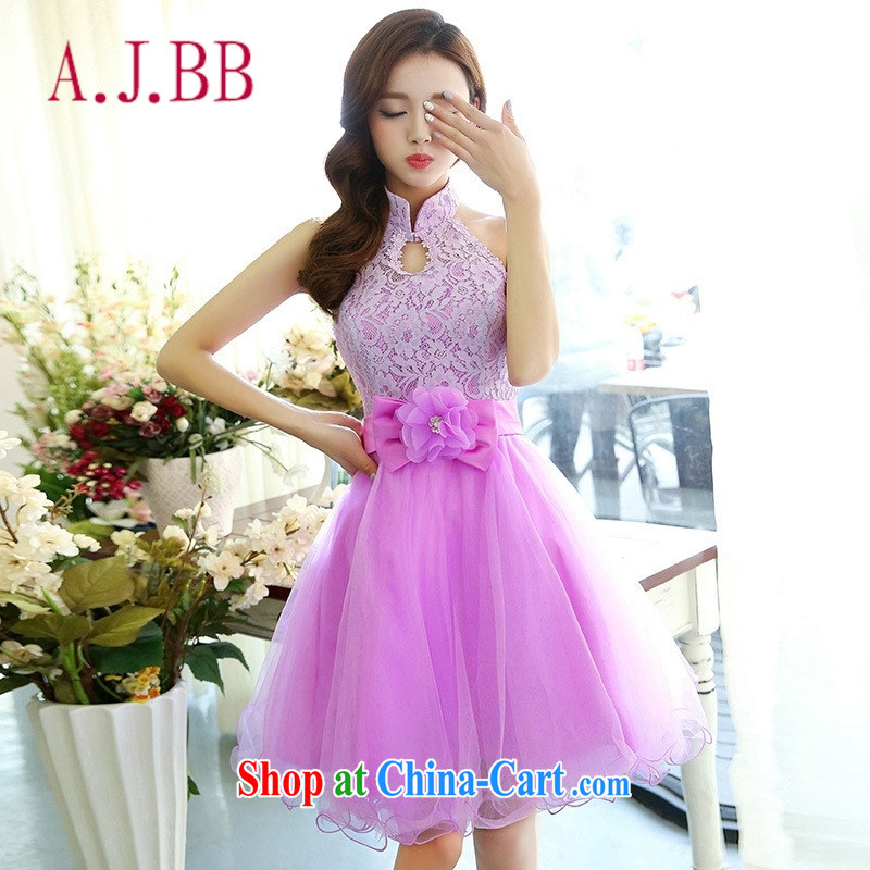 With vPro heartrendingly dress 2015 spring and summer new-style also shaggy short skirts and stylish dress beauty lace short banquet dress purple XL