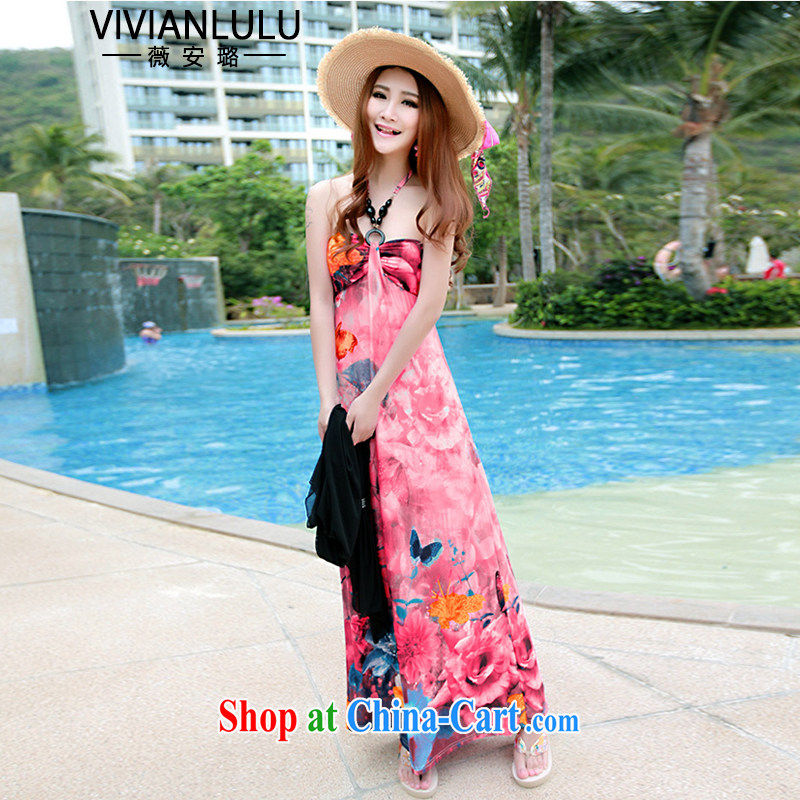 Ms Audrey EU, take this 15 summer new stamp Beauty Chest bare sexy Snow woven long dresses resort beach skirt AL 150,673 rose red are code