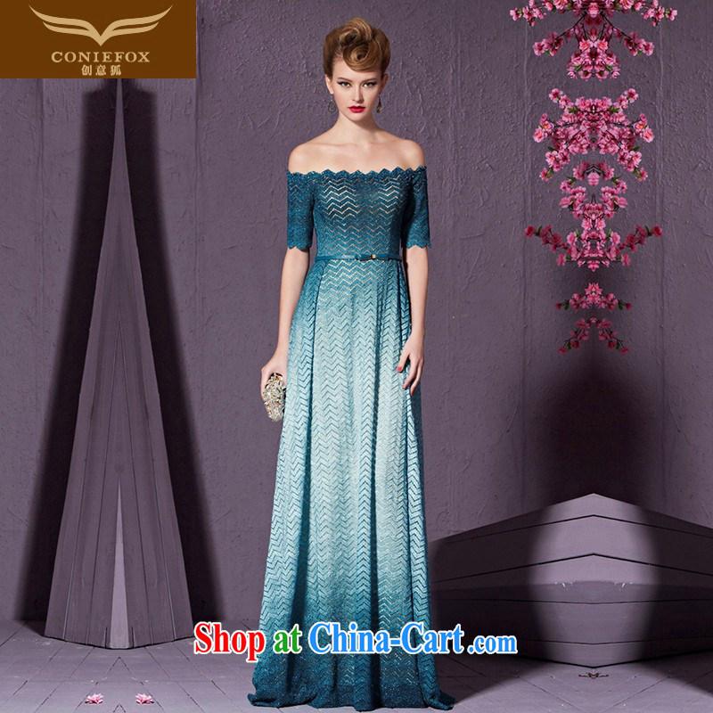 Creative Fox stylish blue banquet dress field shoulder bridal wedding dress evening dress long serving toast the dress uniforms long skirt Lake 30,965 blue XXL