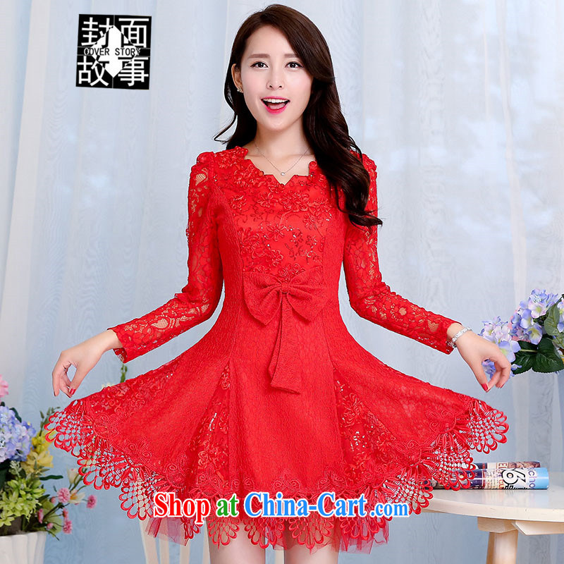 Cover Story 2015 Spring and Autumn lace wedding dresses back doors short Evening Dress wedding bride wedding toast bridesmaid dresses red XXL