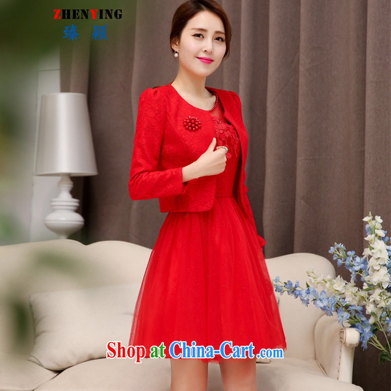 from Zen bride toast Kit 2015 elegant autumn marriage, back door kit dresses the betrothal red short-sleeved dress two-piece red XXL