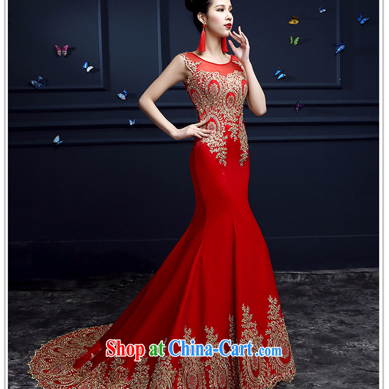 White first about crowsfoot dress long 2015 new summer lace bridal toast service beauty-tail red wedding dress female Red tailored contact Customer Service