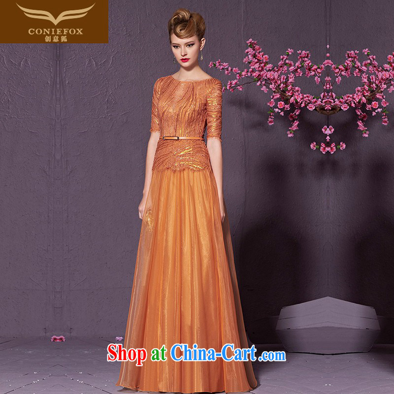 Creative Fox style, banquet dress beauty long sleeves in evening dress uniform toast the dress uniform performance graphics thin bridesmaid dress dress 30,980 orange XXL