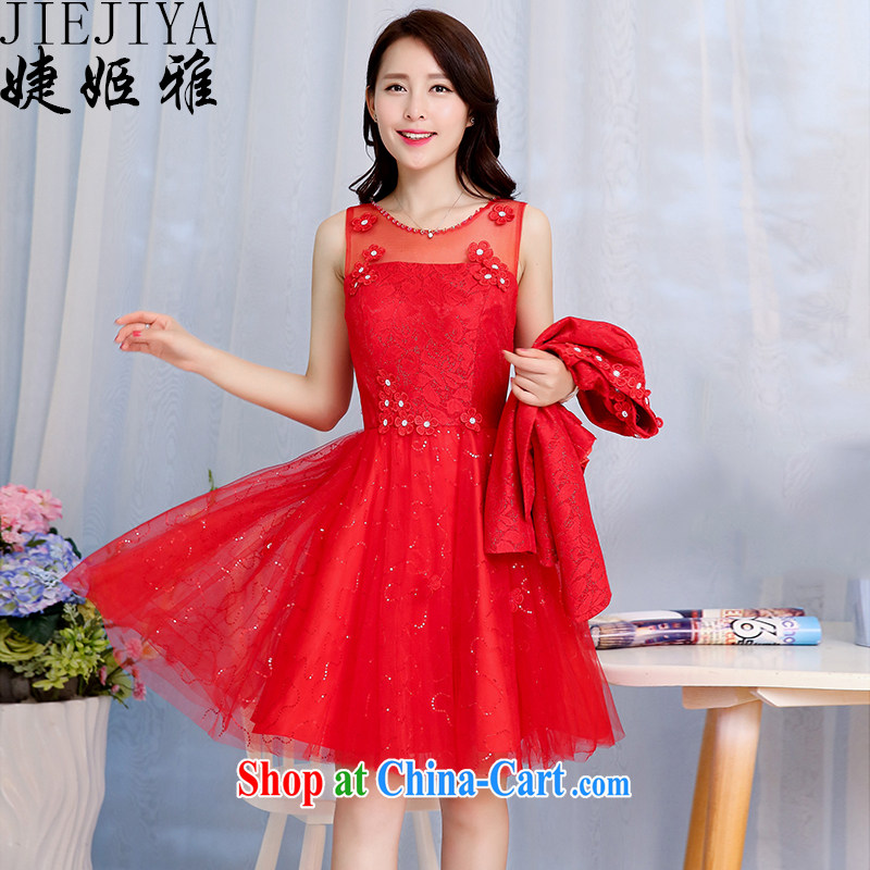 With her, spring loaded new Korean wedding dress female Two-piece dresses and stylish high-end style bridal gown back to toast the bridesmaid dress female Red XXXL