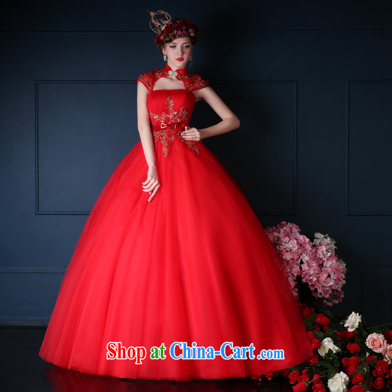 wedding dresses 2015 Korean version of the new, red erase chest long bridal toast serving graphics thin dress uniforms summer picture color L