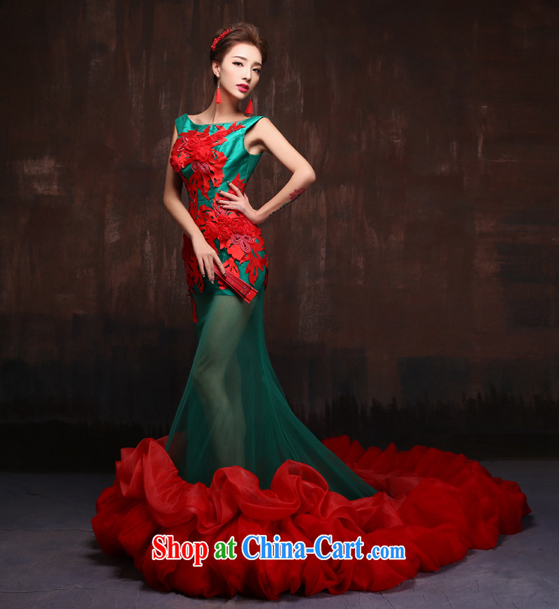 2015 spring and summer new stylish long-tail marriages at Merlion dress photo building theme Stage service picture color. Size
