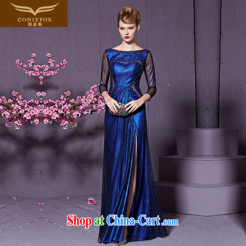 Creative Fox stylish wood drill banquet dress long sleeved Evening Dress wedding toast wedding service hospitality service the dress long cheongsam beauty 82,200 blue XXL