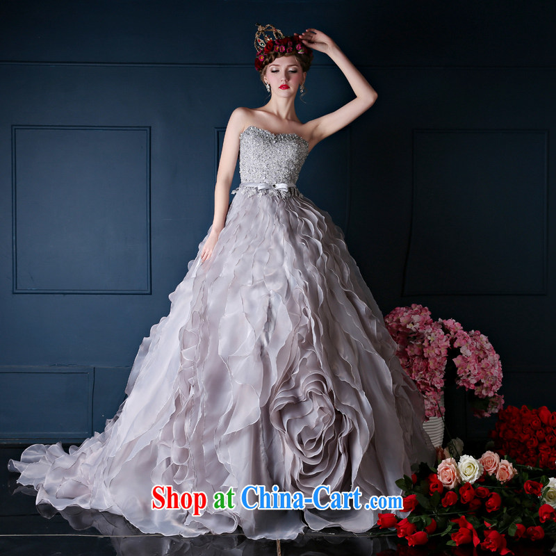 wedding dresses spring 2015 new Korean version wiped his chest long bridal tail wedding banquet dress uniforms gray L