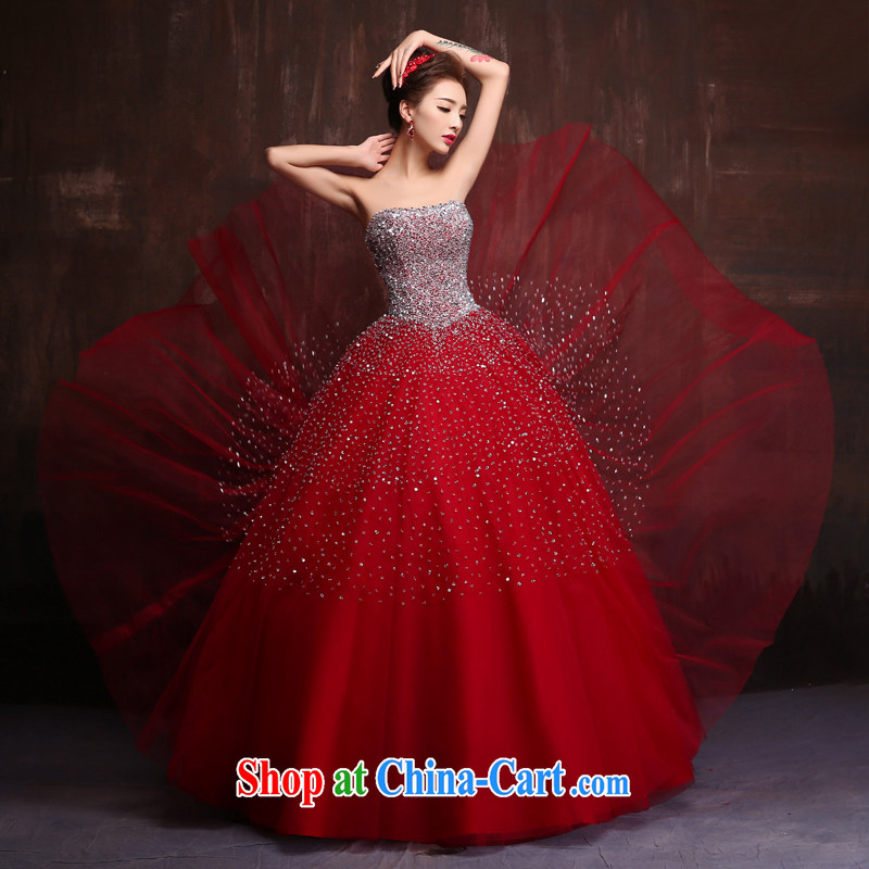 High quality color wedding dress 2015 new, wipe off chest, theatrical dress bridal wedding toast serving wine red. Size