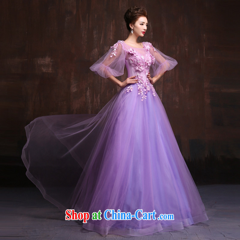 2015 spring and summer Korean version of the new bride, wedding dresses purple long shadow floor theme banquet dress uniforms purple. Size