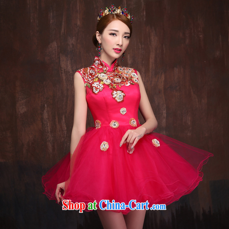 Summer 2015 new short dress theatrical service marriages red bows beauty service shaggy dress female China Red. Size