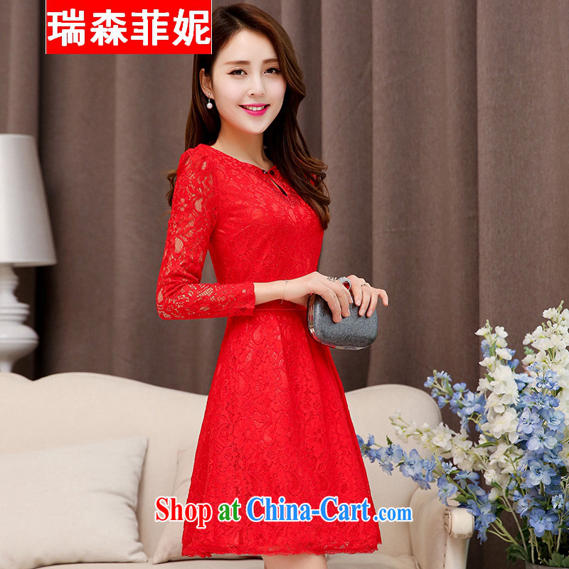 2015 new long-sleeved Openwork lace beauty bridal wedding dress bows to the door of the long dresses wedding toast small dress banquet dress red XXL