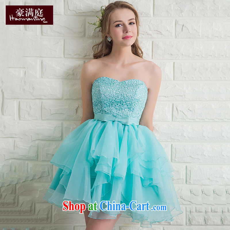 2015 new toast wiped his chest short summer bridal wedding dresses stylish banquet dress shaggy dress red economy , Blue XL