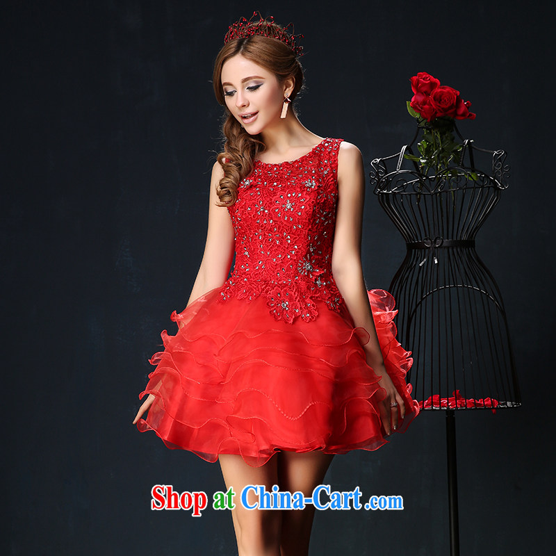 Red bows service 2015 new dual-shoulder larger graphics thin bridal banquet dress short theatrical service summer red S