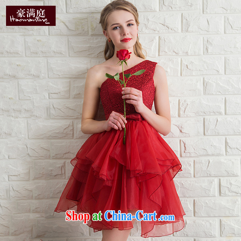 2015 new bride toast clothing summer banquet wedding dress single shoulder short bridesmaid dress dresses red wine red XL