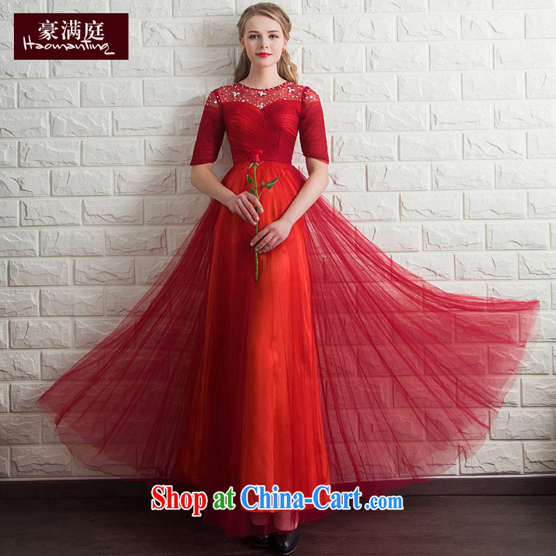 Ho full Chamber bridal toast serving long sleeves in red wedding wedding dinner will host Evening Dress bridal red XL