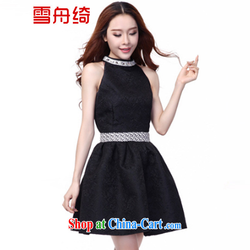 Snow Storm, Autumn 2015 the dresses of yuan in Europe and dress jacquard sleeveless dresses A 9998 black XL