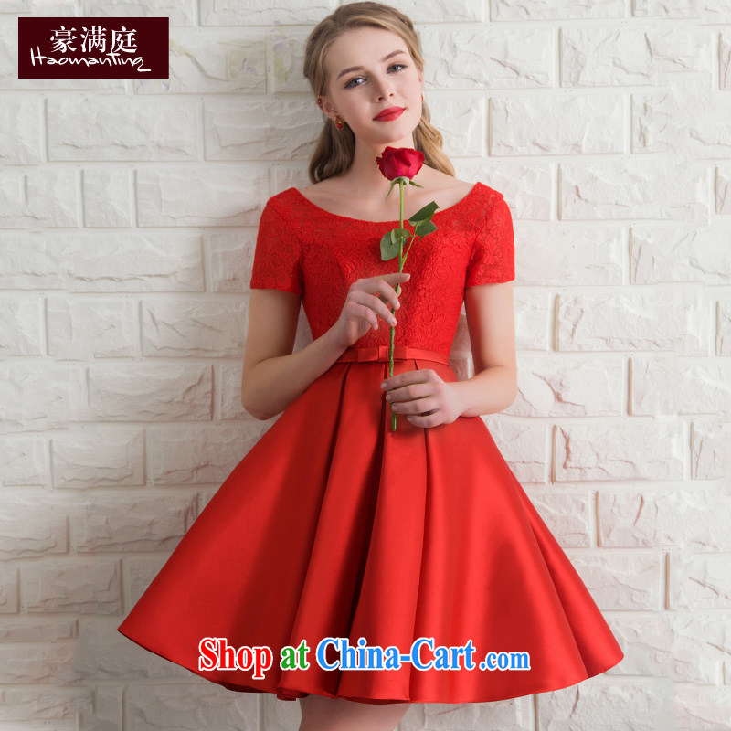 Wedding dress bridal toast service banquet dress 2015 new bridesmaid clothing red short-sleeved short evening dress summer red XL