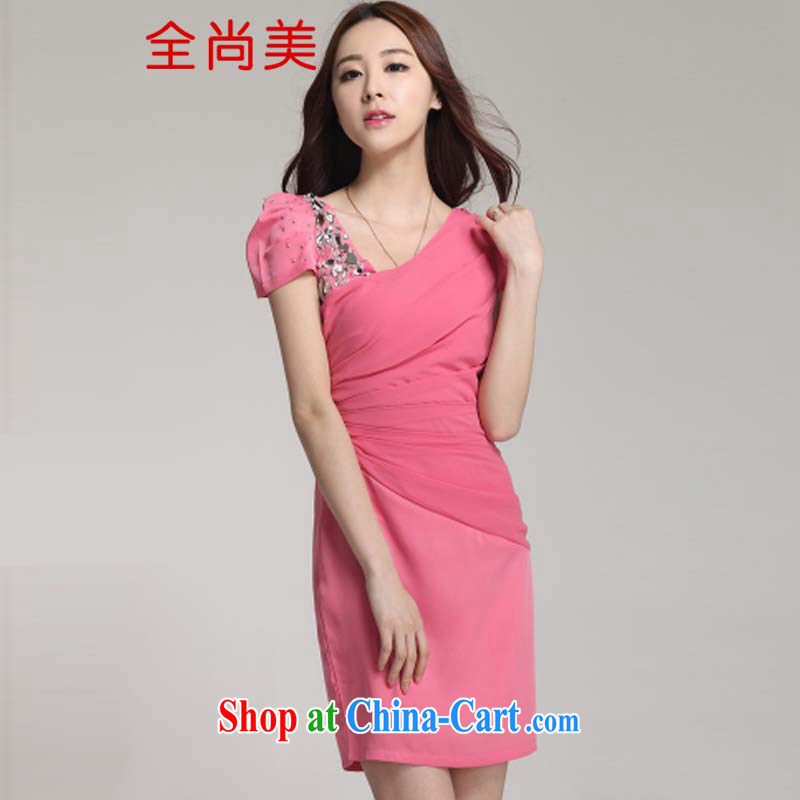 The Sang-mi 2015 spring and summer New Female Light drill cultivating snow woven skirt solid dresses bridesmaid dresses loaded A 1245 red M
