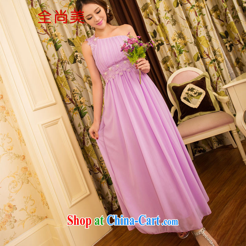 Yet the United States 2015 new sweet temperament OL banquet bridesmaid marriage a shoulder dresses girls skirts dress A 2145 violet left shoulder with hidden shoulder strap S