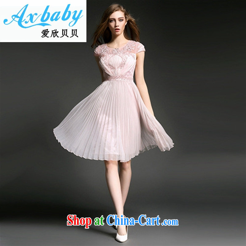 Love Yan Babe (Axbaby) spring and summer new European and American luxury fashion and the Pearl River Delta (PRD 100 hem hem beauty dress dresses T 2881 pink 8
