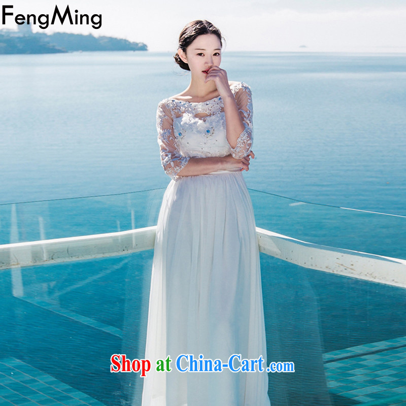 Abundant Ming 2015 summer terrace shoulder nails Pearl aura of Yuan dress dresses snow woven large resort long skirt white XL