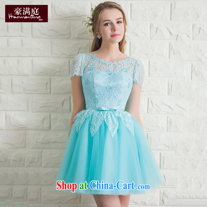 Ho full Chamber lace package shoulder dress dress short wedding bridesmaid dresses small moderator show banquet dress summer economy , Blue XL