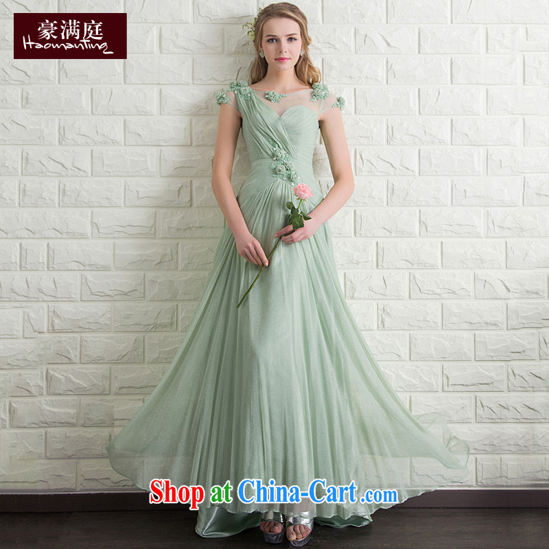 Bridal bridesmaid wedding dress wedding toast service wedding evening dress for the wedding banquet moderator long skirt summer Matcha green XL