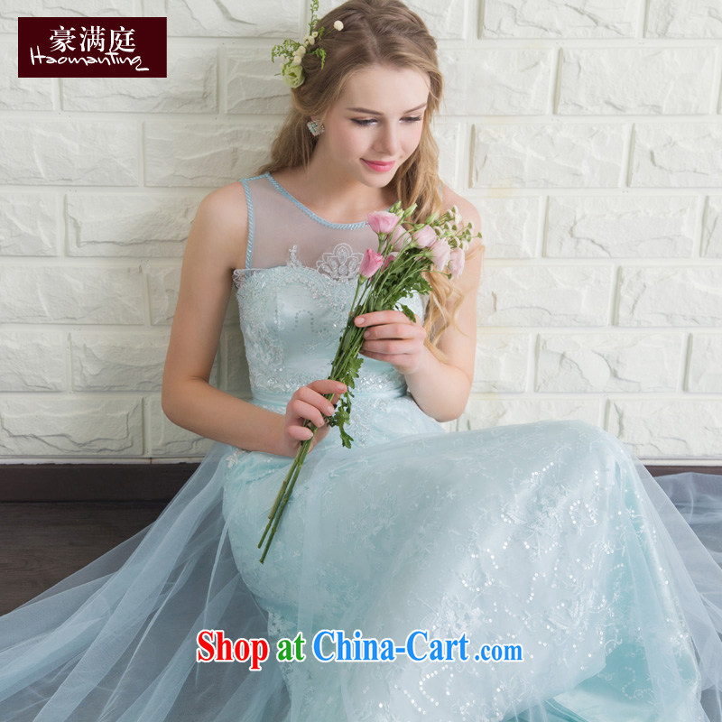 Evening Dress long summer 2015 new bride toast service banquet hosted dress dresses wedding bridesmaid clothing female Ice Blue XL