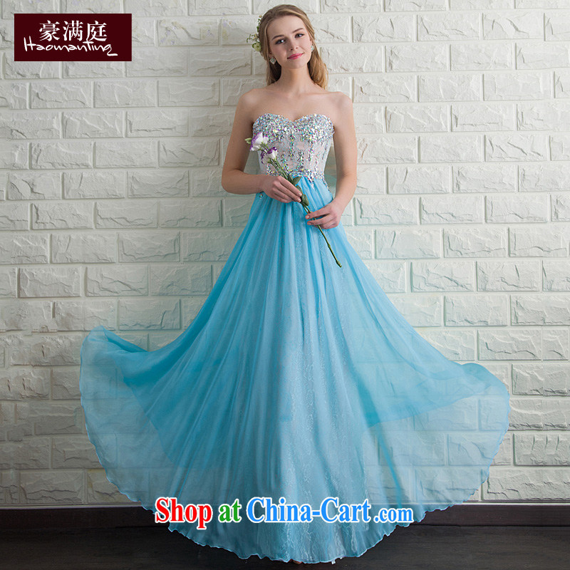 blue towel chest dress long banquet dance performances wedding moderator dress skirt inserts drill fashion 2015 summer ice blue XL