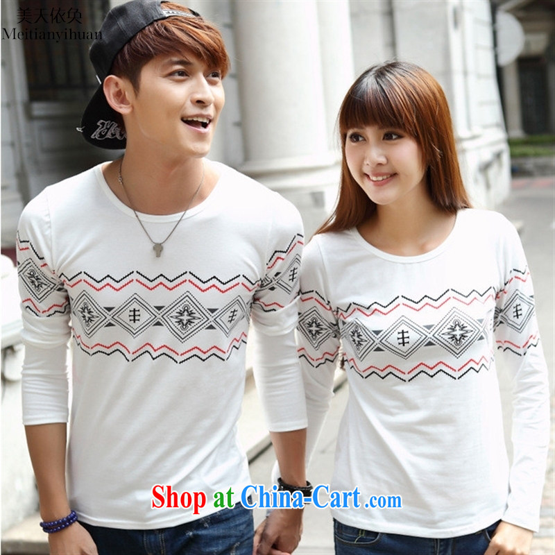 Spring new Korean version of National wind stamp round-collar long-sleeved T-shirts for couples Class Service picture color XXL
