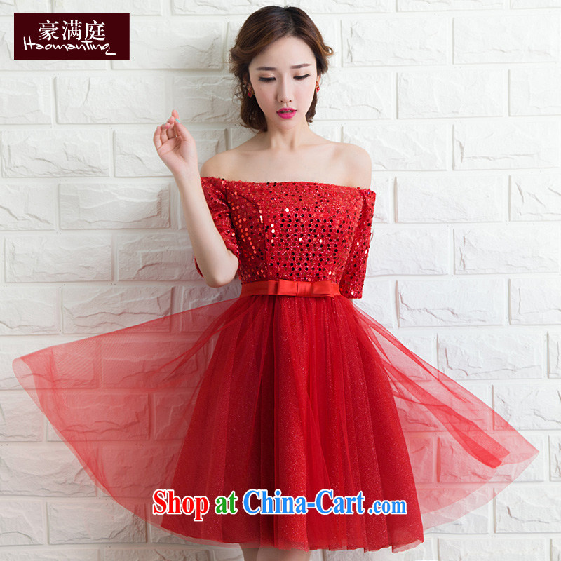 2015 new stylish evening dress a Field shoulder bows Service Bridal bridesmaid dress wedding dress moderator short red XL